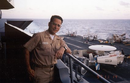 Dr. Mejia on aircraft carrier
